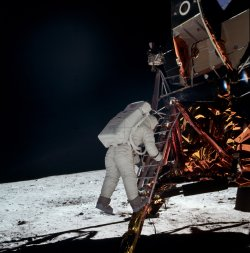 Buzz Aldrin descends the Lunar Module ladder