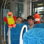 Aboard the train with my trusty parrot keeping watch from the top of the chair