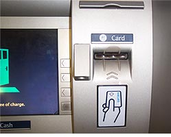 The ATM before the skimming device is installed